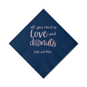 Personalized Wedding Napkin - All You Need Is Love And Donuts Wedding Napkins