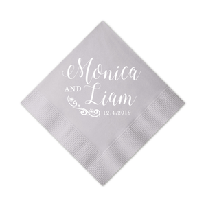 Personalized Wedding Napkin - First Name Winter Snowflake Wedding Napkins