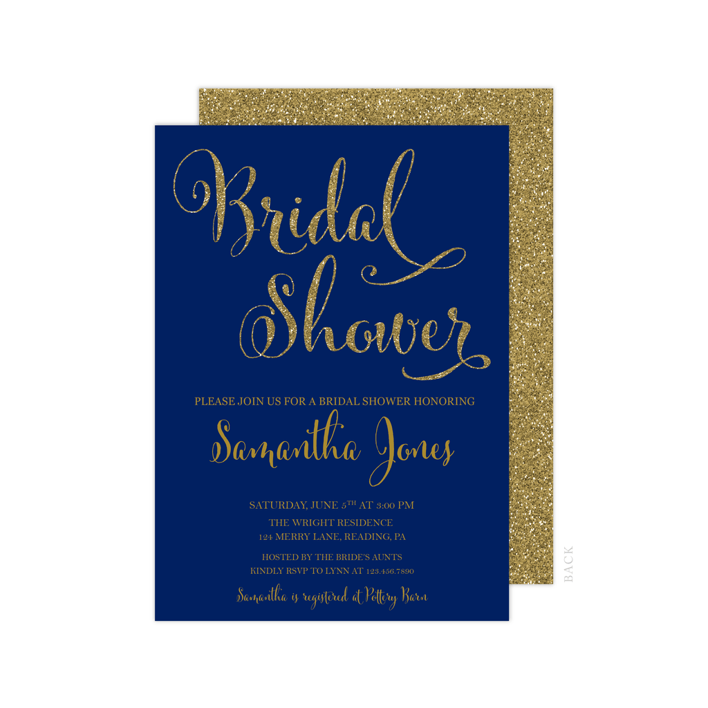 Bridal Shower Invitation | Navy and Gold