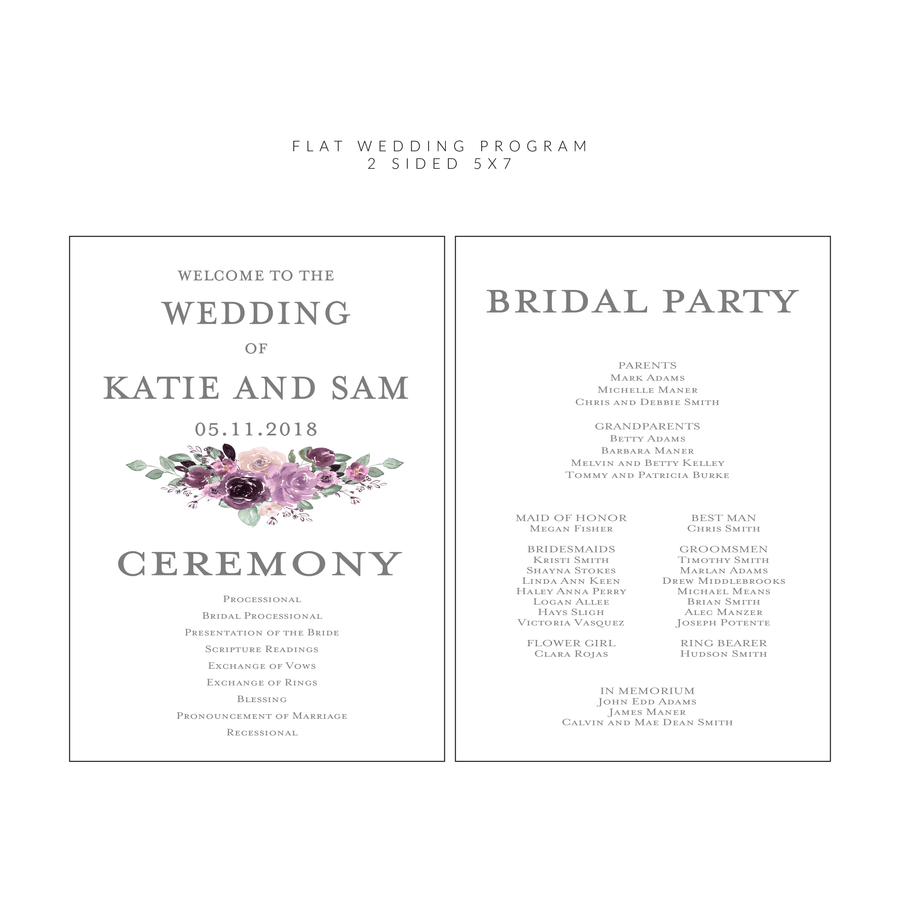 Ceremony Program - Ceremony Programs (Flat) | The Emily Wedding Collection