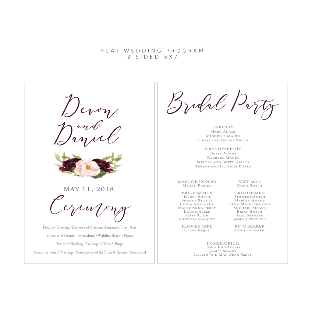 Ceremony Programs (Flat) | The Devon Wedding Collection