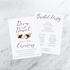 Ceremony Program - Ceremony Programs (Flat) | The Devon Wedding Collection