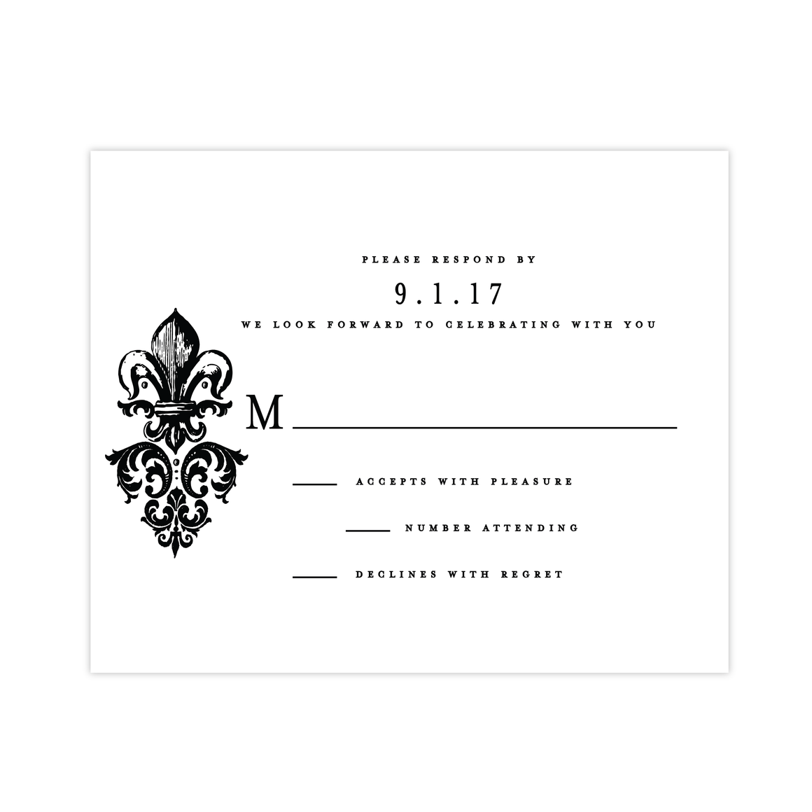 RSVP Card - Fleur Di Lis RSVP Card | The Diana Wedding Collection