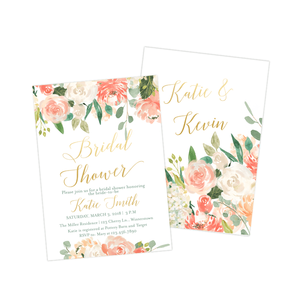 Bridal Shower Invitation | Peach and Cream