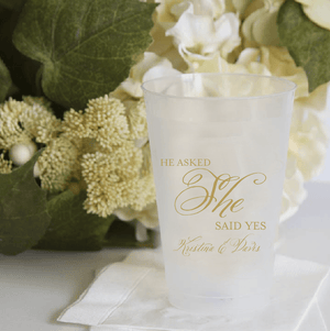 Personalized Bridal Shower Cup - He Asked She Said Yes Frosted Plastic Cups