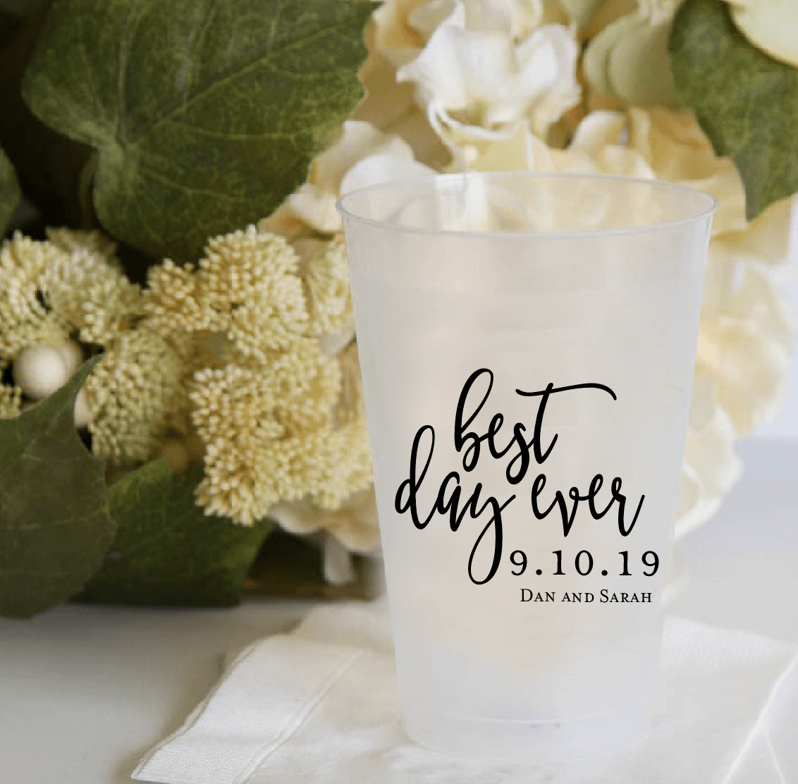Personalized Wedding Cup - Best Day Ever Personalized Wedding Frosted Plastic Cups