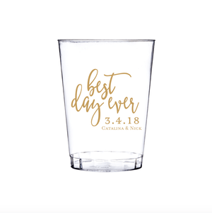 Personalized Wedding Cup - Best Day Ever Wedding Clear Plastic Cups