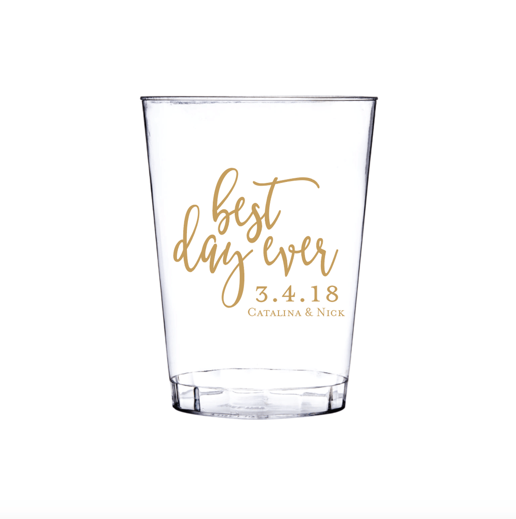 First Names Wedding Clear Plastic Cups