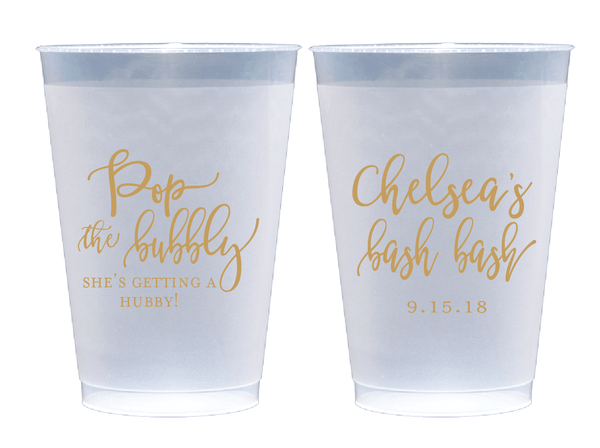 Pop the Bubbly Personalized Bridal Shower Frosted Plastic Cups