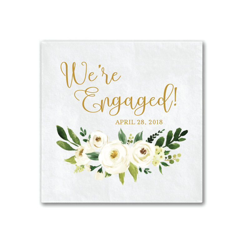 we re engaged white floral napkins pink poppy weddings