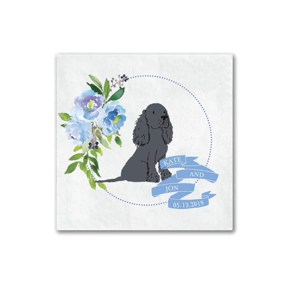 Blue Floral Dog Wedding Logo Napkins