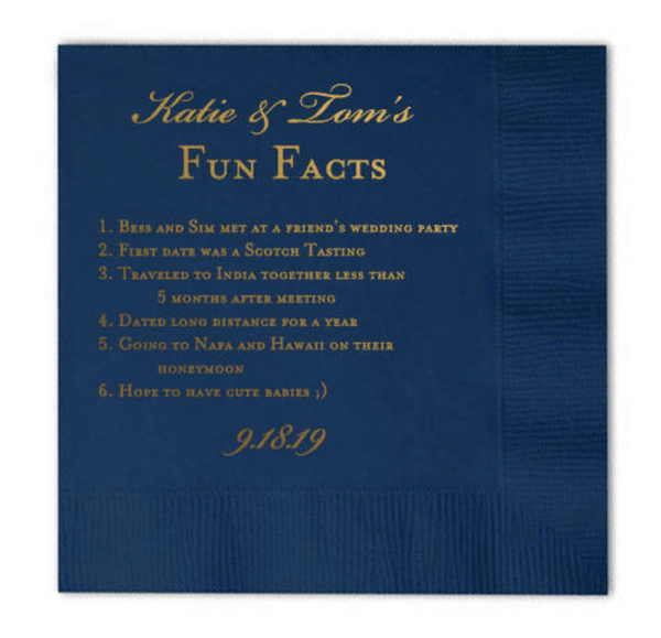 Wedding Fact Napkins