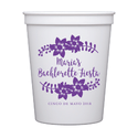 Floral Bachelorette Fiesta Personalized Stadium Cups