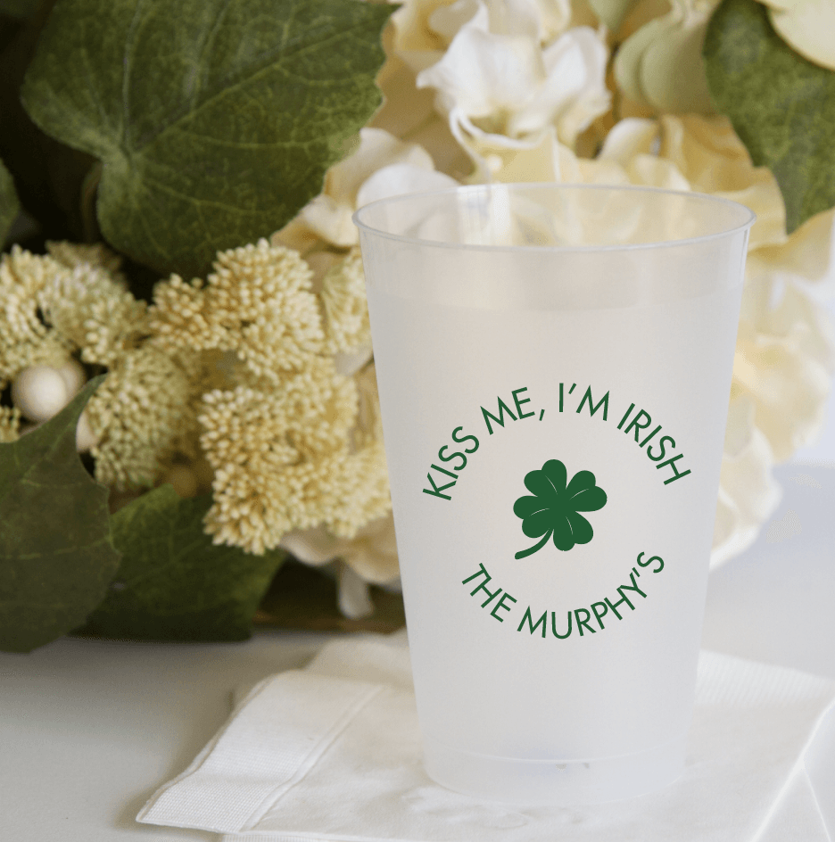 Kiss Me, I'm Irish Personalized Wedding Frosted Plastic Cups