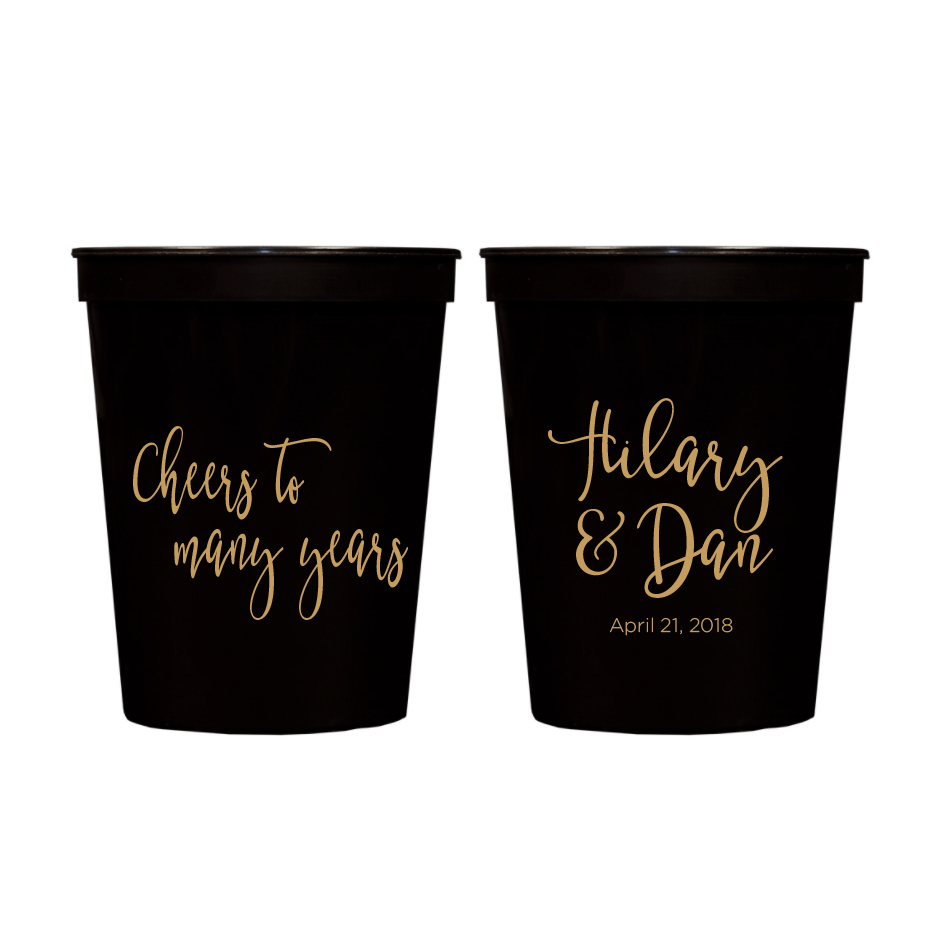 Cheers to Many Years Personalized Wedding Stadium Cups