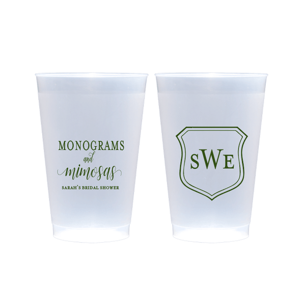 Monograms and Mimosas Bridal Shower Frosted Plastic Cups