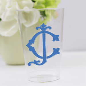 Personalized Wedding Cup - Fancy Monogram Wedding Clear Plastic Cups