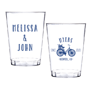 Personalized Wedding Cup - Bicycle Wedding Clear Plastic Cups