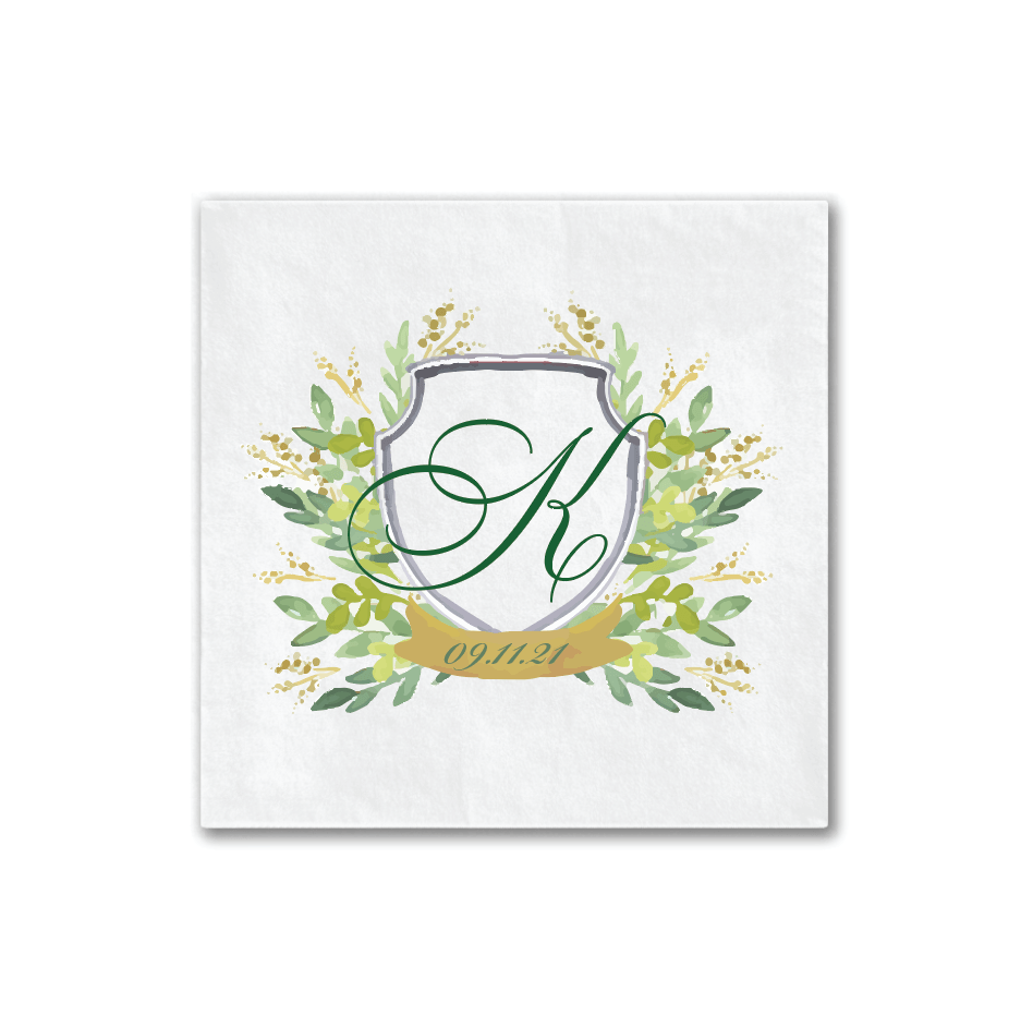 Green Floral Watercolor Napkins