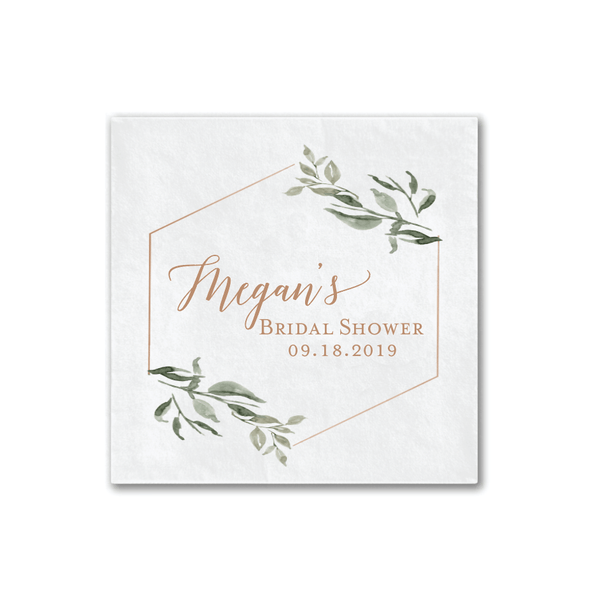 Green Floral Bridal Shower Napkins