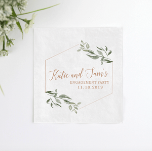 Full Color Napkins - Green Floral Engagement Party Napkins
