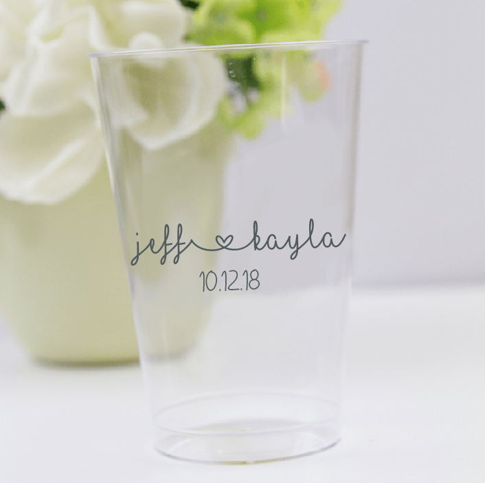 First Names with Heart Wedding Clear Plastic Cups
