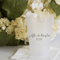 First Names with Heart Personalized Wedding Frosted Plastic Cups