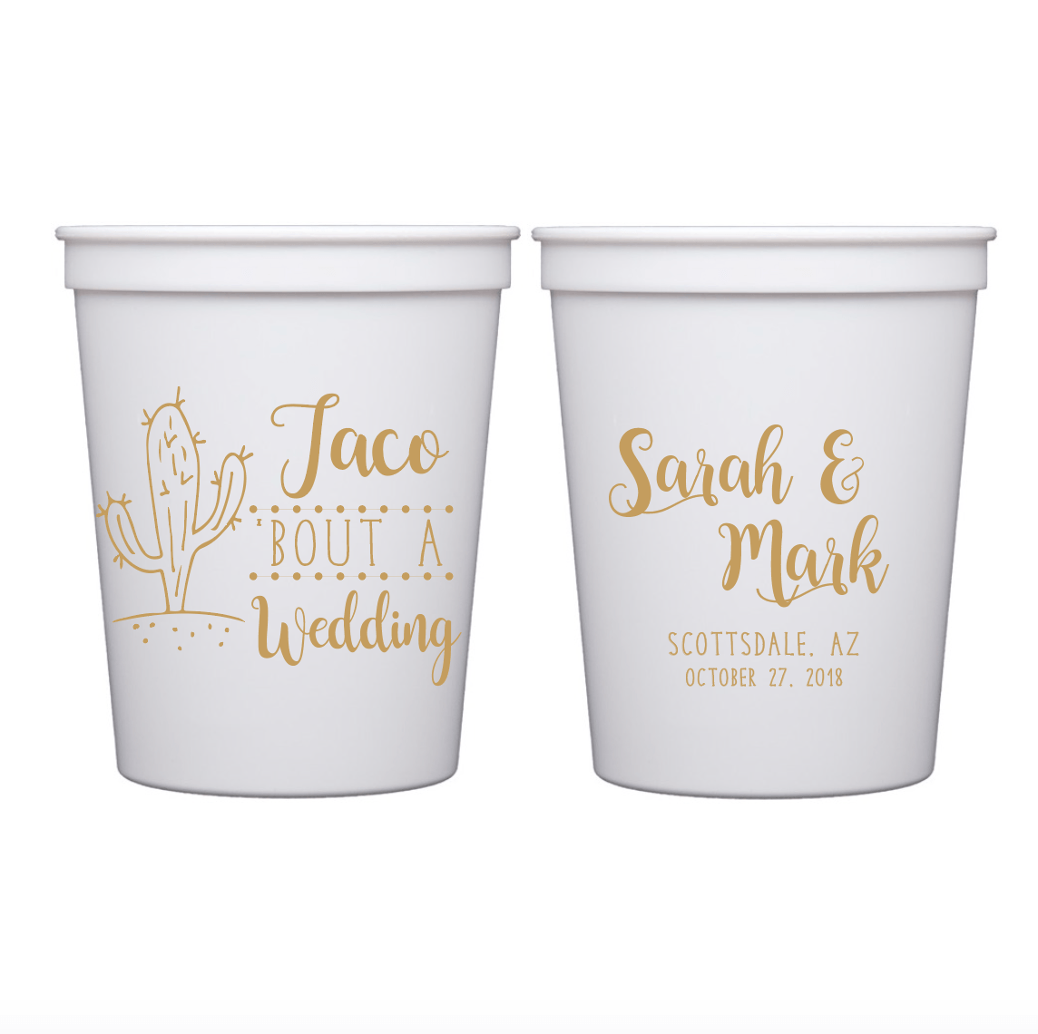 Stadium Cups - Taco About A Wedding Personalized Stadium Cups