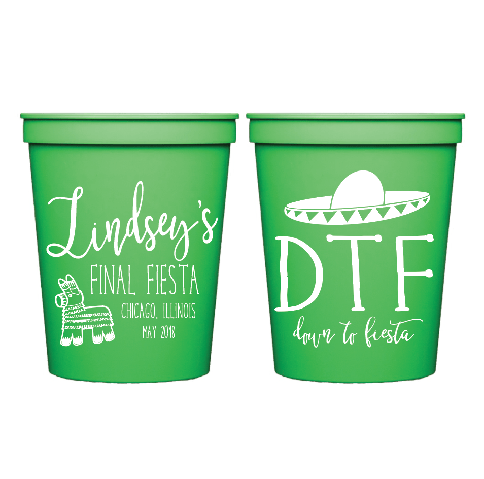 Down to Fiesta Bachelorette Personalized Stadium Cups
