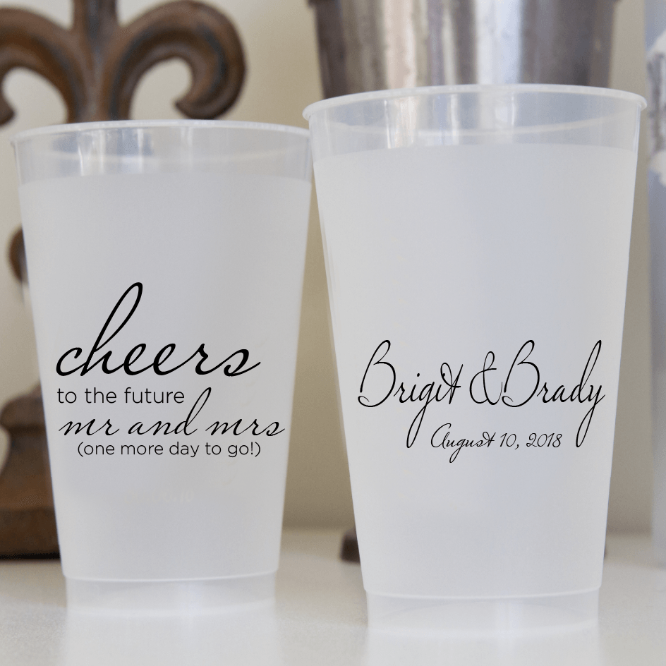 Cheers to the Future Mr and Mrs Frosted Plastic Cups
