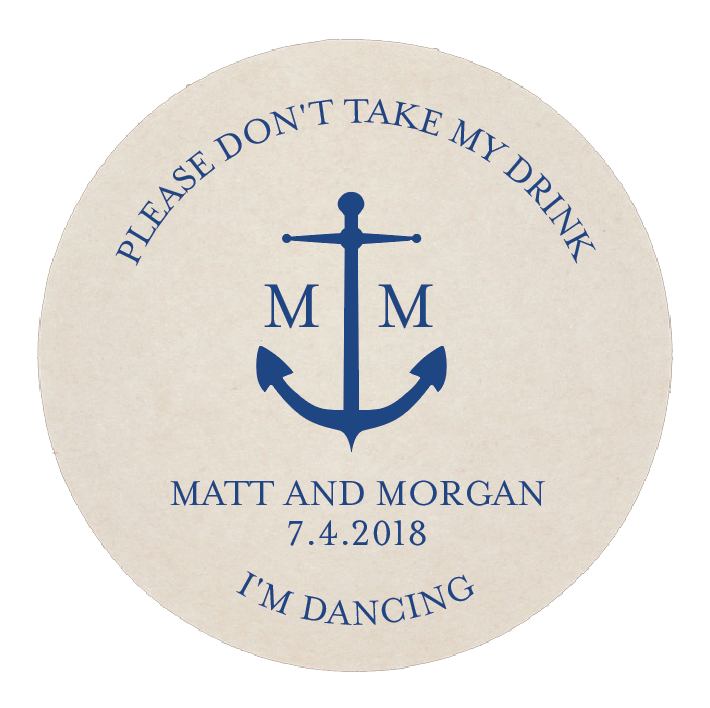Don't Take My Drink Anchor Personalized Wedding Coaster