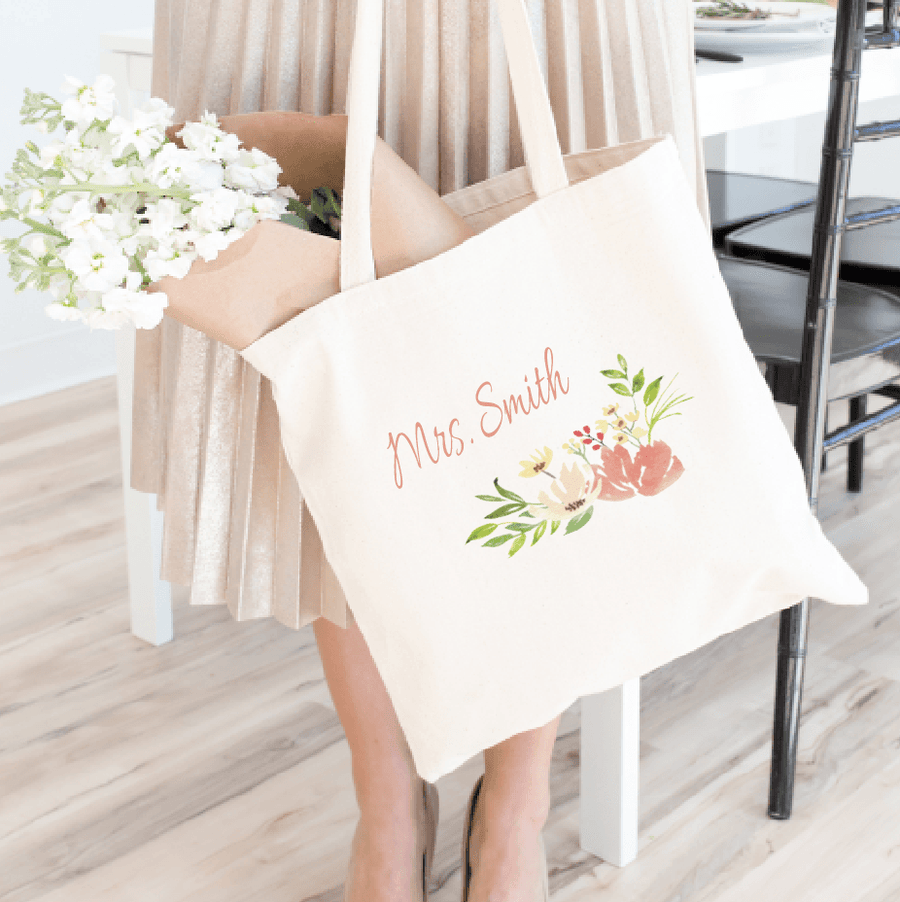 Tote Bag - Personalized Mrs Bride Tote Bag