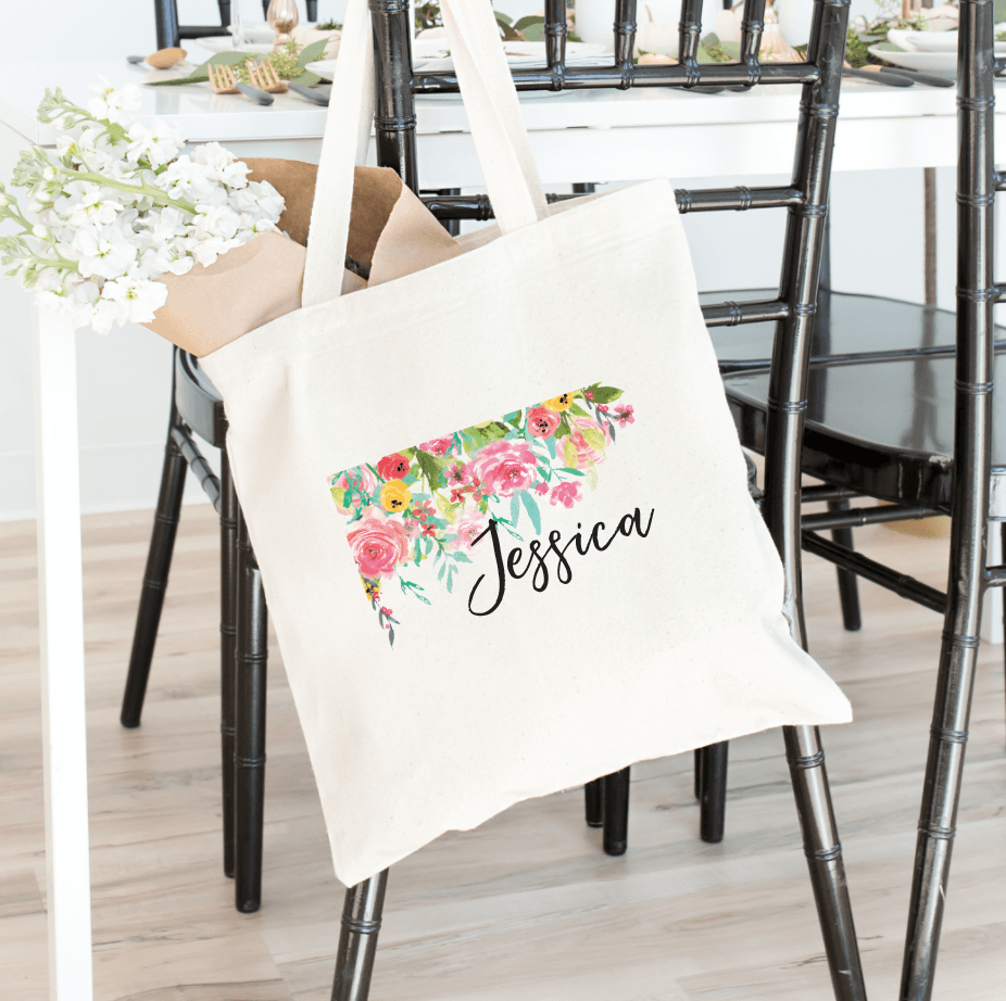 Tote Bag - Bright Floral Bridal Tote Bag