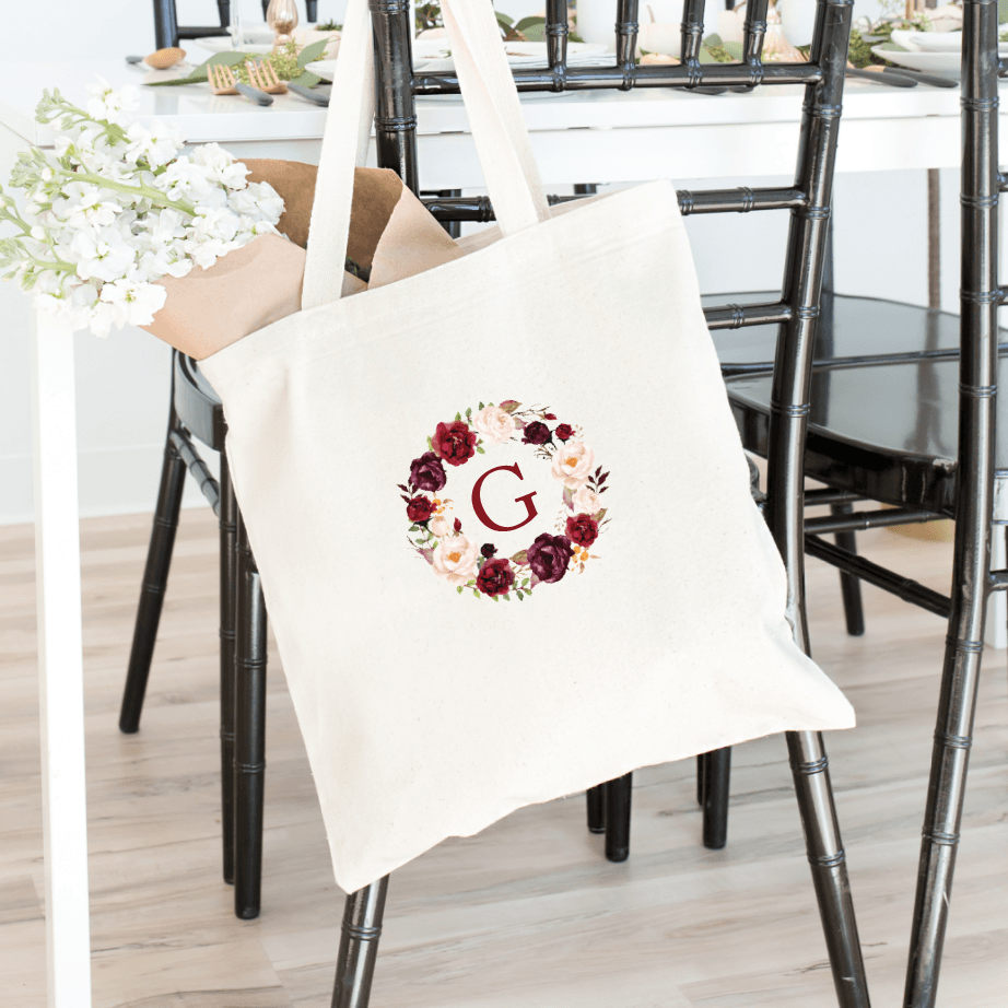 Burgundy Wreath Bridal Tote Bag