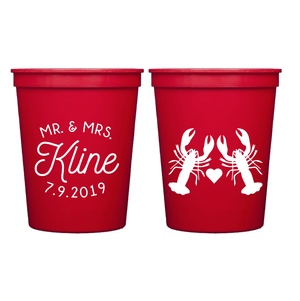 Stadium Cups - Lobster Love Personalized Wedding Stadium Cups