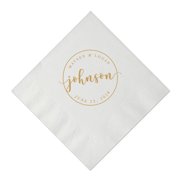Circle Monogram Personalized Wedding Napkins
