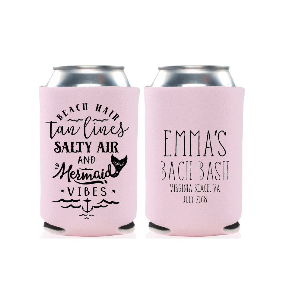 Beach Hair and Mermaid Vibes Bachelorette Can Cooler