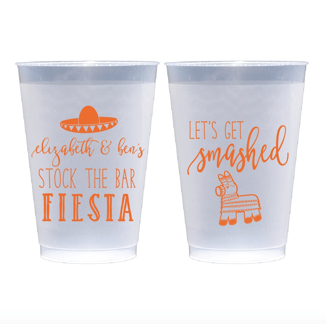 Personalized Bridal Shower Cup - Stock The Bar Fiesta Bridal Shower Frosted Plastic Cups