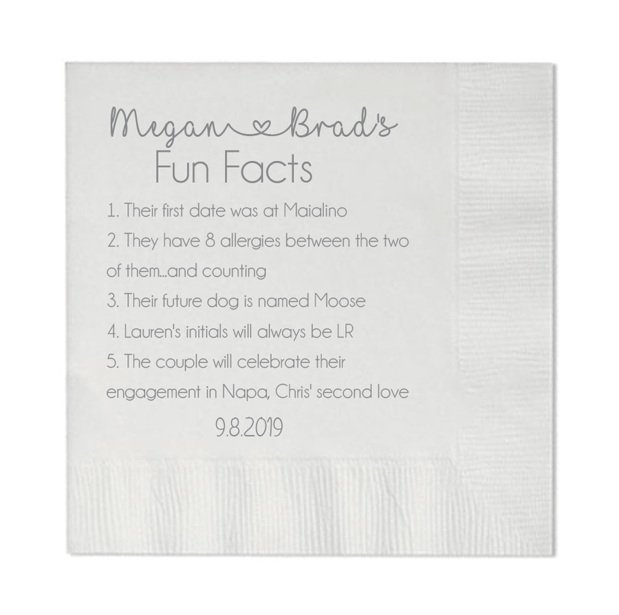 Personalized Wedding Napkin - Wedding Fact Napkins