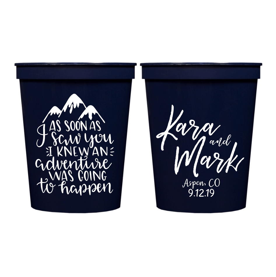 Adventure With You Wedding Stadium Cups