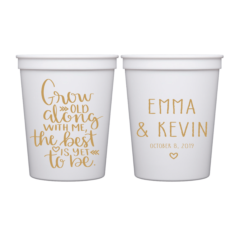 Stadium Cups - Grow Old With Me Wedding Stadium Cups