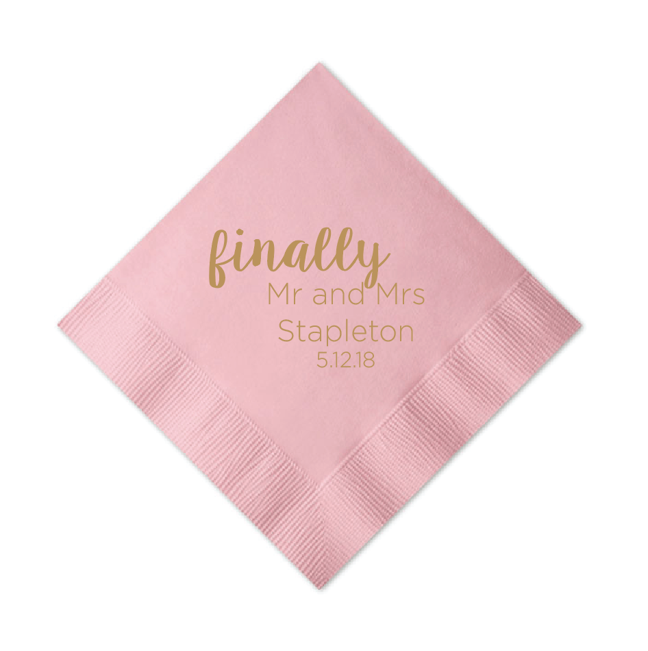 Finally Mr and Mrs Personalized Wedding Napkins