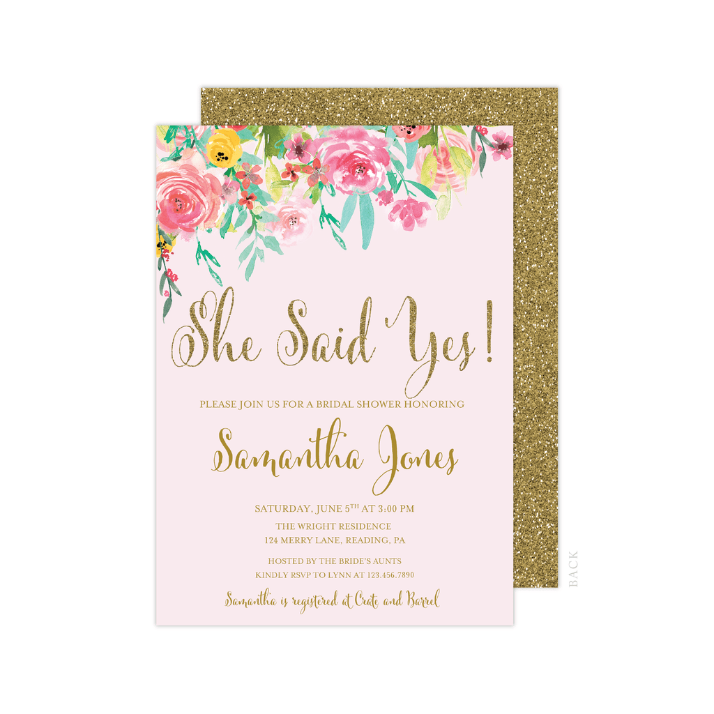 She Said Yes Floral Bridal Shower Invitation Pink Poppy Weddings