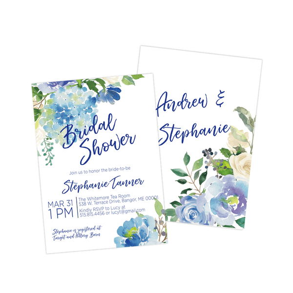 Bridal Shower Invitation | Blue Floral