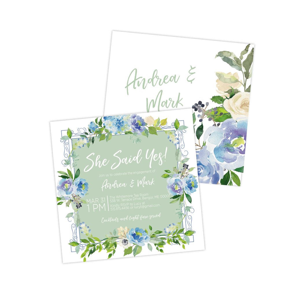 Engagement Party Invitation | Blue and Green Floral