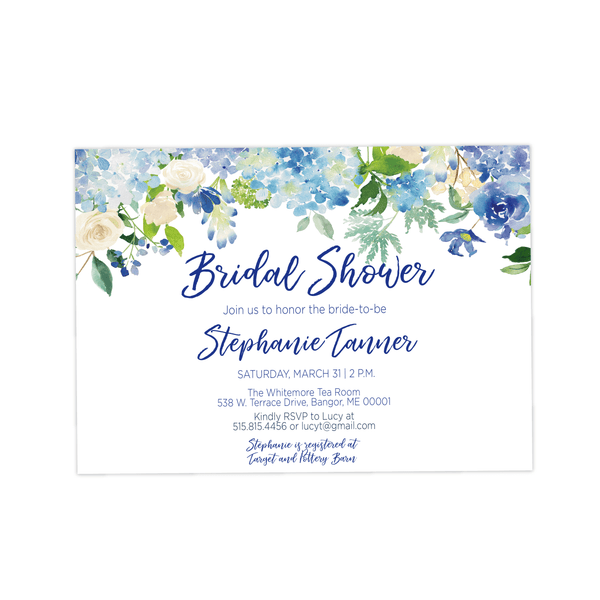 Bridal Shower Invitation | Blue Floral Landscape