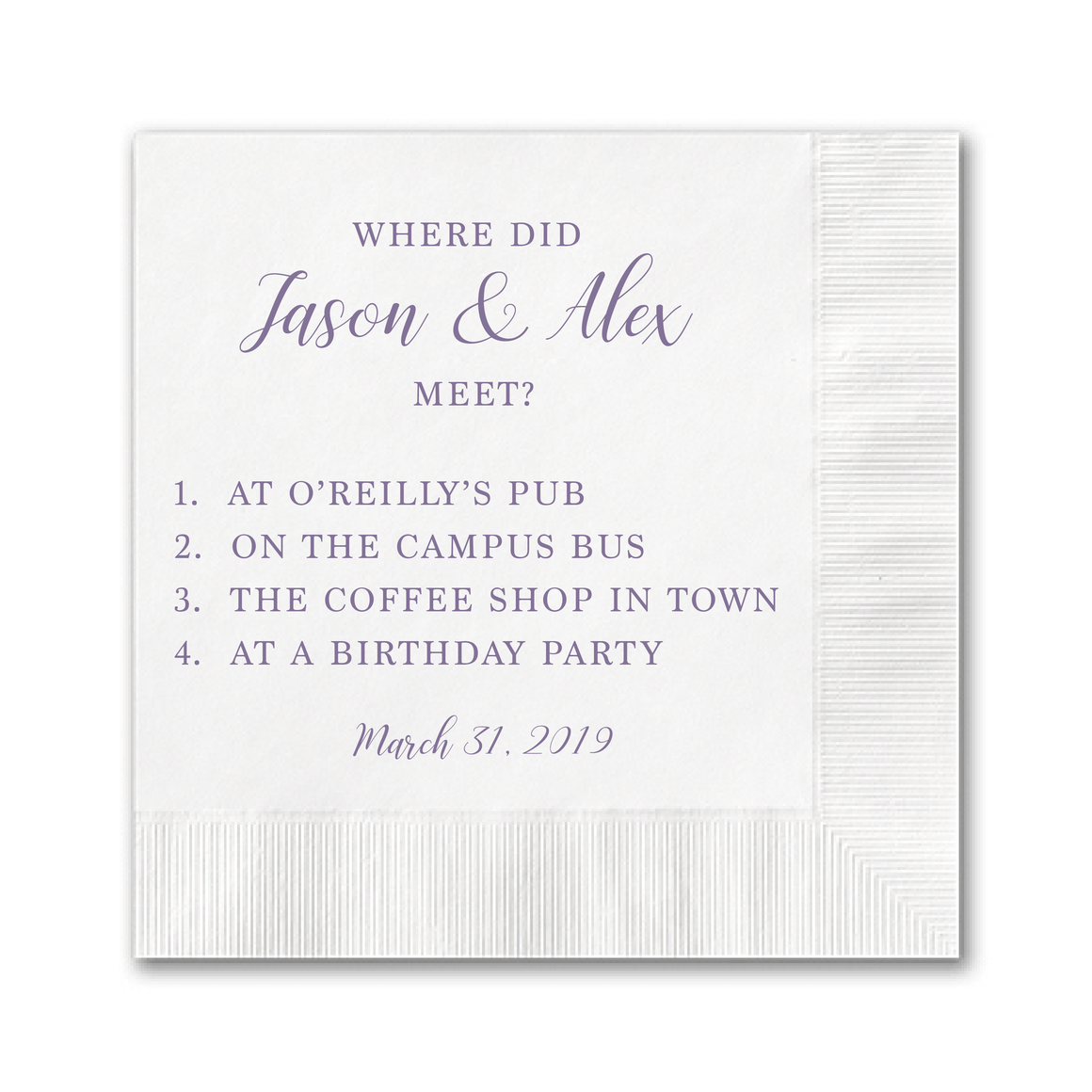 Personalized Wedding Napkin - Wedding Trivia Napkins