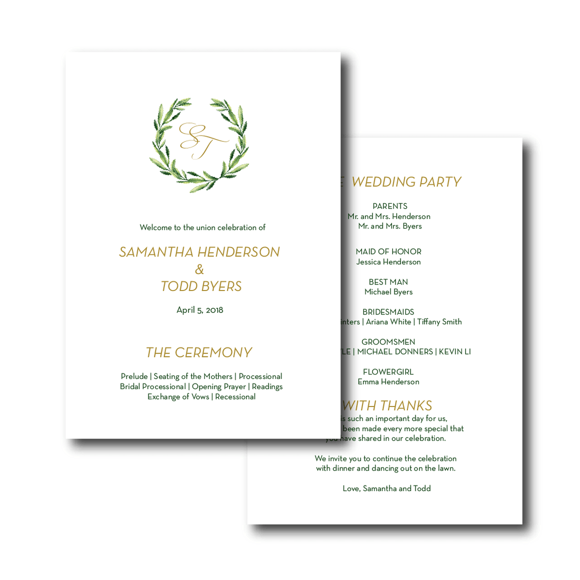 Ceremony Program - Ceremony Programs (Flat) | The Piper Wedding Collection