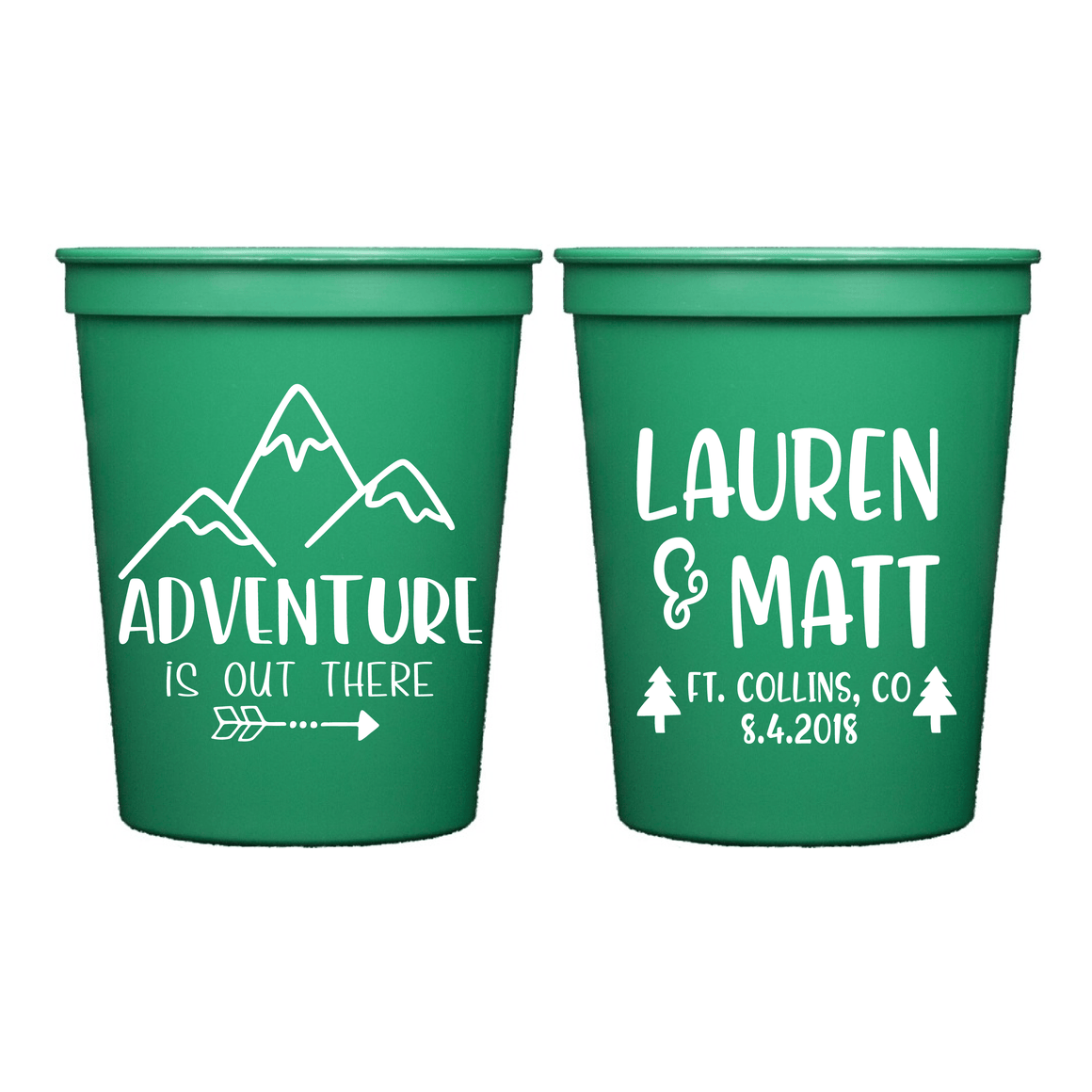 Stadium Cups - Adventure Is Out There Personalized Wedding Stadium Cups