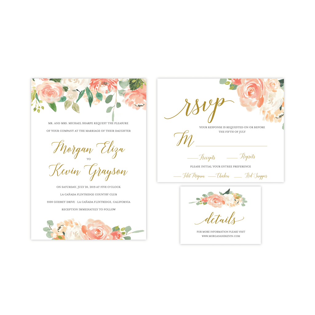 Invitation | The Peach and Cream Wedding Collection
